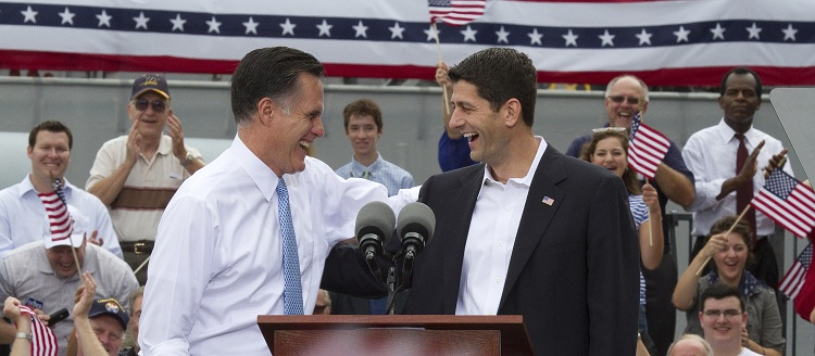 Republican Presidential Candidate Mitt Romney campaigns with Rep. Paul Ryan As His Vice Presidential Pick - DC
